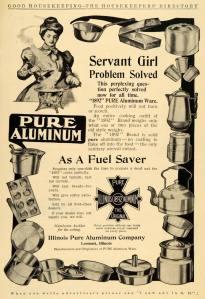 1907 Ad Servant Girl Pure 1892 Aluminum Kitchenware