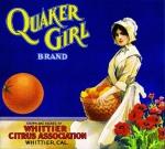 Whittier Los Angeles County Quaker Girl Orange Citrus Fruit Crate Label03