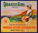 Whittier Los Angeles County Quaker Girl Orange Citrus Fruit Crate Label02