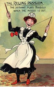 1907 printed postcard captioned The Ruling Passion The Servant Plays Diabolo When The Missus Is Out published by Millar & Lang in the National Series.