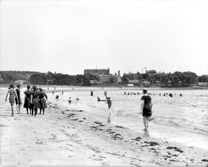"Circa 1906. ""The bathing beach at Magnolia, Massachusetts"