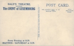 The Count of Luxembourg  – Daly's Theatre – 1911(back)