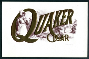 Old Original QUAKER CIGAR Label. Quaker girl holding flowers