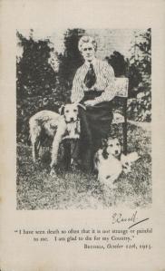 1915 Edith Cavell Photograph on Silk. Memoriam Card