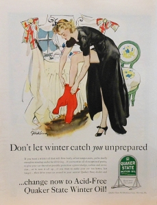 Vintage 1930's Pin-up girl ad for Quaker State Oil - Art by Gilbert Bundy