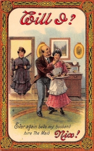 Wife Catches Husband Flirting With Maid on 1910 Comic