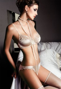 Lingerie and pearls