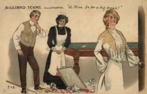 Billiards Terms (TUCK 1288) 1907