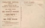 Grumpy – Theatre Royal, Norwich – 4th September 1916.(Back)pg