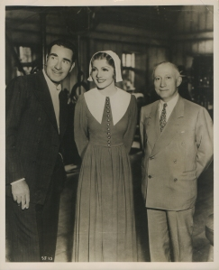 Claudette Colbert Fank Lloyd and Adolph Zukor candid photo 1937 Maid of Salem