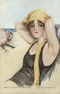 Harrison fisher bathing beauty a midsummer reverie Cosmopolitan postcard