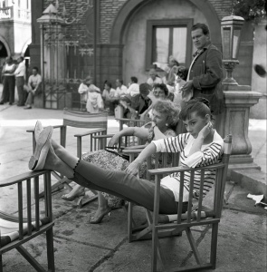 """Audrey Hepburn on the set of """"War and Peace"""" 1955"""