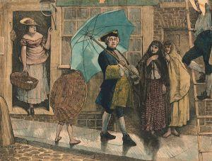 Jonas Hanway walking into the rain, with—controversially—an umbrella.