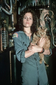 Sigourney Weaver and Jonesy. Alien, 1979.