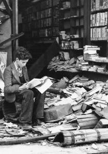 Book shop in London ruined by an air raid, 1940.