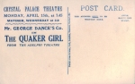 The Quaker Girl – Crystal Palace Theatre – 15th April 1912(back)