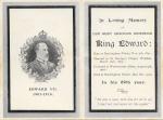 Memorium card – King Edward V11 1910(inside)