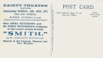 Smith (David Allen & Co) The Gaiety Theatre, Hastings – 30th January 1911(reverse)